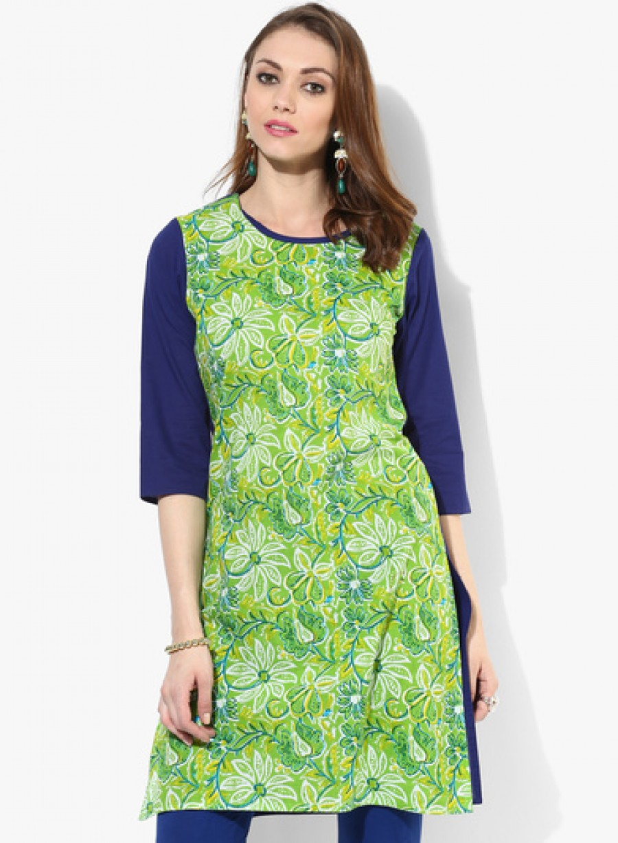 Buy Sangria 3/4Th Sleeves Solid Kurta With Printed Body Online