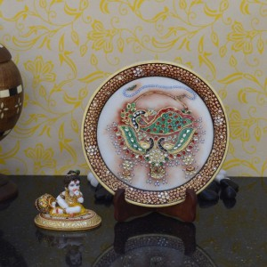 Buy Combo of Laddu Gopal and Decorative Plate with Dancing Peocock Online