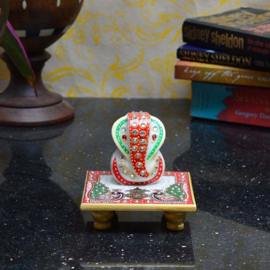 Buy Marble Crystal studded Lord Ganesha Chowki with Peocock and Kalash Online