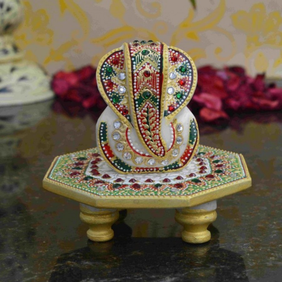 Buy Lord Ganesha on Stone Studded Round Marble Chowki Online