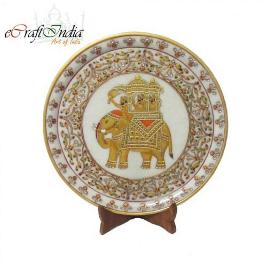 Buy Ambabari Elephant Etched Marble Plate Online