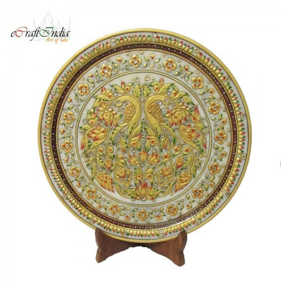 Buy Floral Marble Plate with Peocock Online