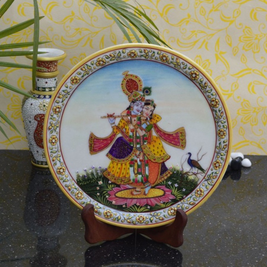 Buy Divine Beauty of Radha-Krishna on Marble Plate with Wooden Stand Online