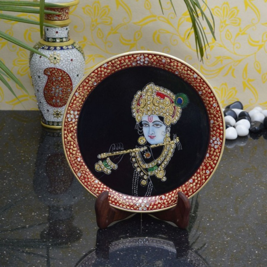 Buy Elegant Painting of Lord Krishna on Marble Plate with Stand Online