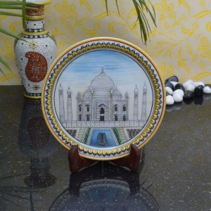 Buy Classy Taj Mahal on Marble Plate with Wooden Stand Online