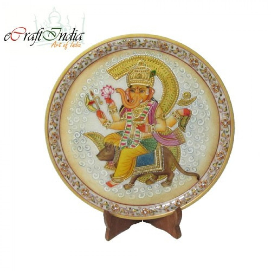 Buy Ganesha-Rat Decorative Marble Plate Online