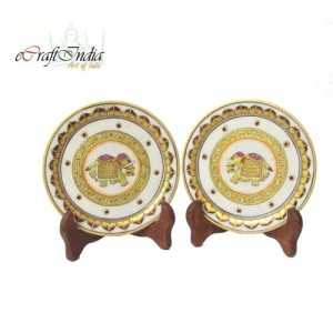 Buy Golden Elephant Etched Decorative Plates Online