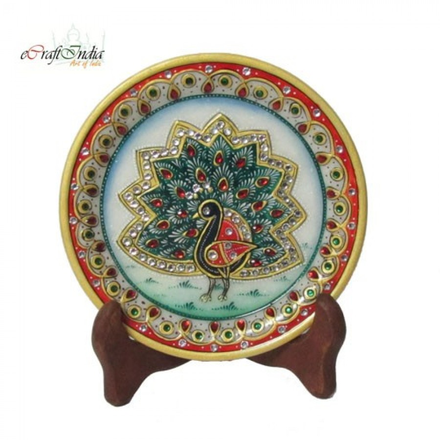 Buy Dancing Peocock Etched Decorative Plate Online