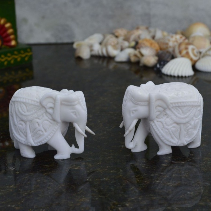 Buy Combo of Pure White Elephants Online