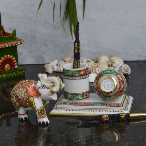 Buy Combo of Penstand with Clock and Saluting Elephant Online