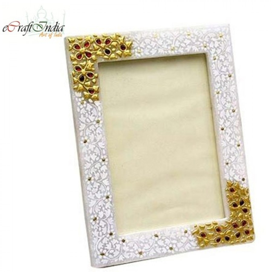 Buy Marble Photo Frame with Kundan work Online