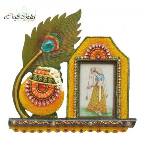 Buy Papier-Mache Mor Pankhi and Matki Photo Frame Online