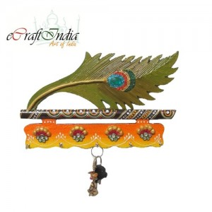 Buy Papier-Mache Mor Pankhi Key Holder Online