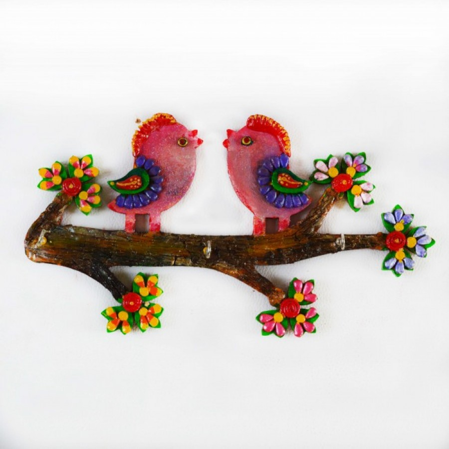 Buy eCraftIndia Colorful Love Birds Key Holder Online