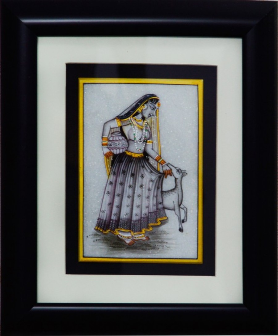 Buy Charming Ragini Marble Painting with pot and Calf (Wooden Framed) Online