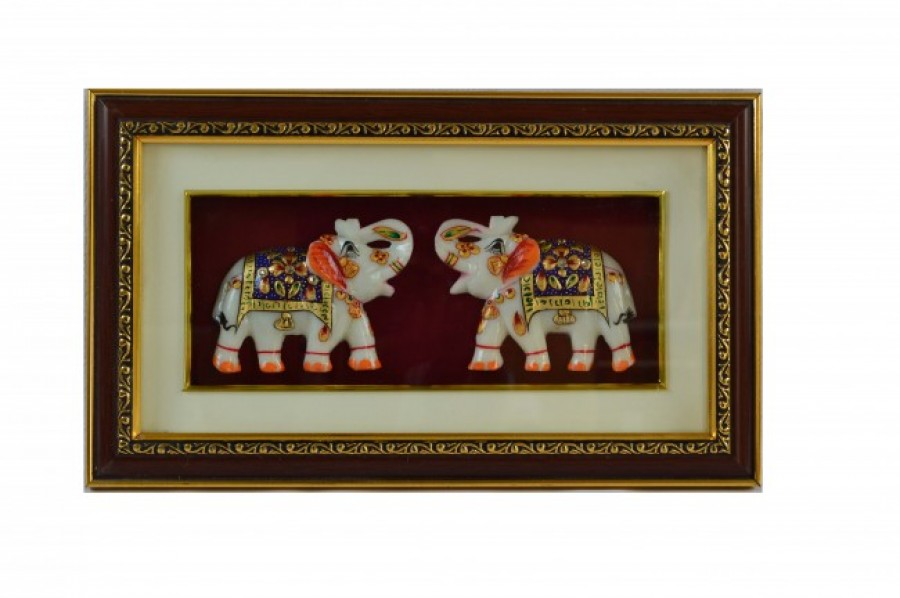 Buy eCraftIndia Set of 2 Marble Royal Elephant Wall Hanging Online