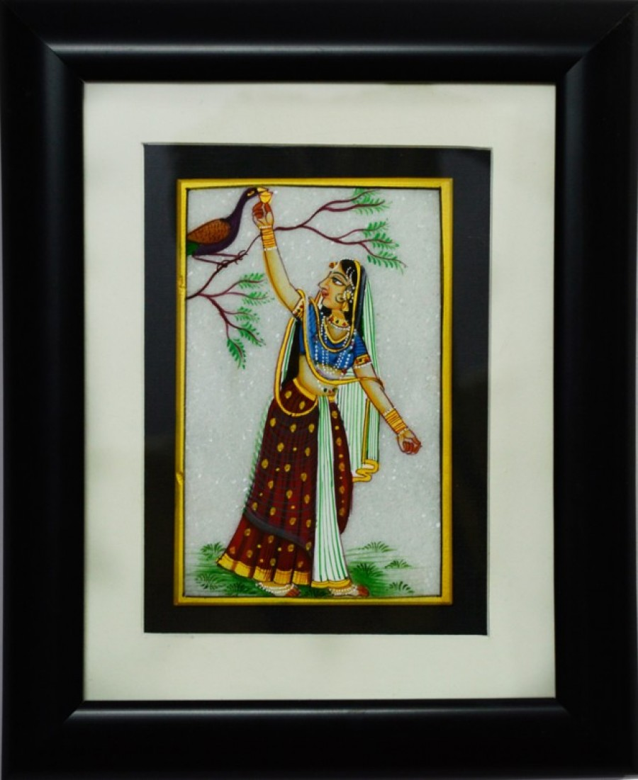 Buy Ragini with Peacock Marble Painting (Wooden Framed) Online