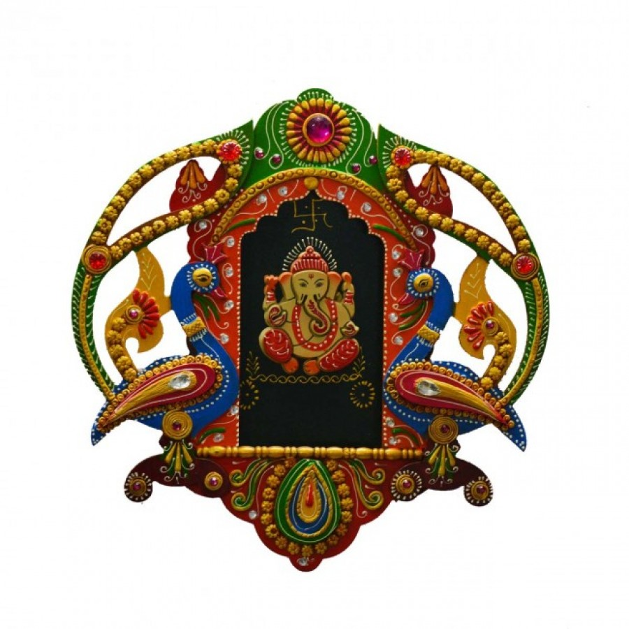 Buy eCraftIndia Papier-Mache Lord Ganesha with Peocock Wall Hanging Online
