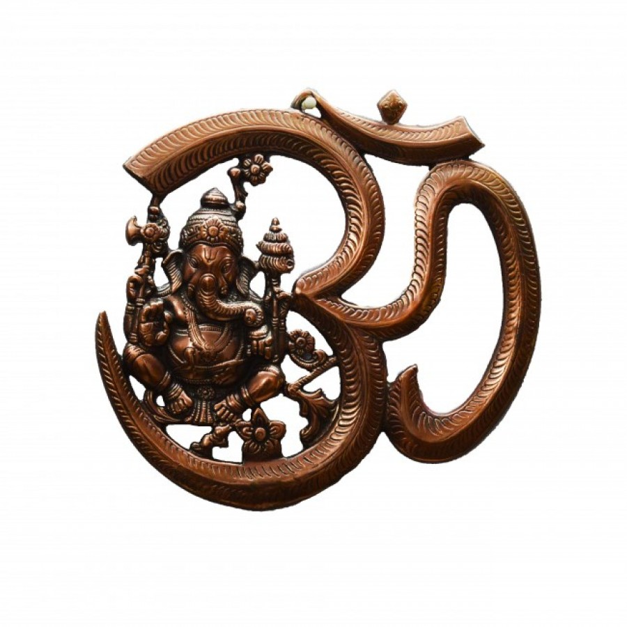 Buy eCraftIndia Metal wall hanging of Lord Ganesha with Om Online