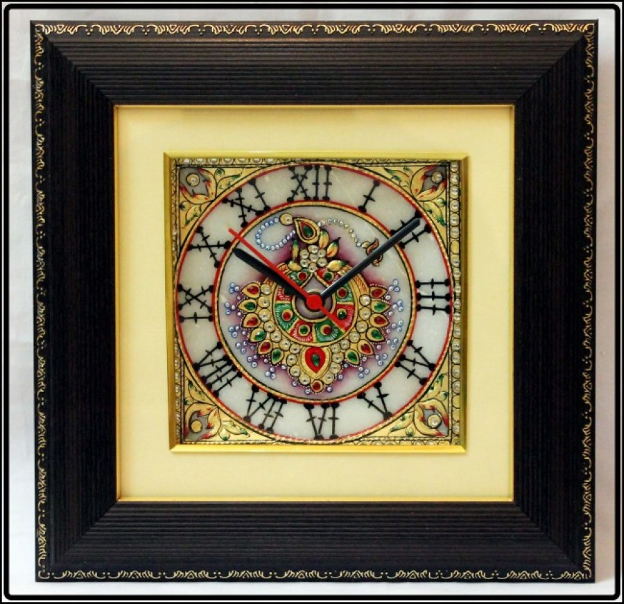 Buy eCraftIndia Decorative Jewelled Wall Clock with LED and Wooden Frame Online