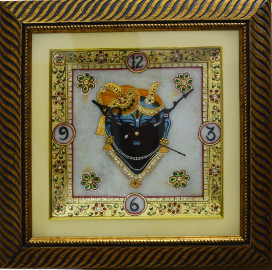 Buy eCraftIndia Lord Krishna Decorative Marble Wall Clock with LED and Wooden Frame Online