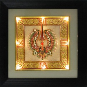Buy eCraftIndiaGolden Color Designed Marble Wall Clock with LED and Wooden Frame Online