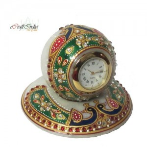 Buy Colorful stone studded Marble Table Clock with Peocock Online