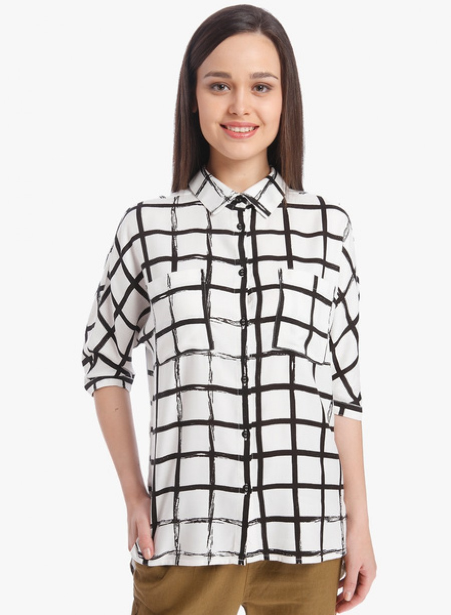 Buy OnlyOff White Checked Shirt Online