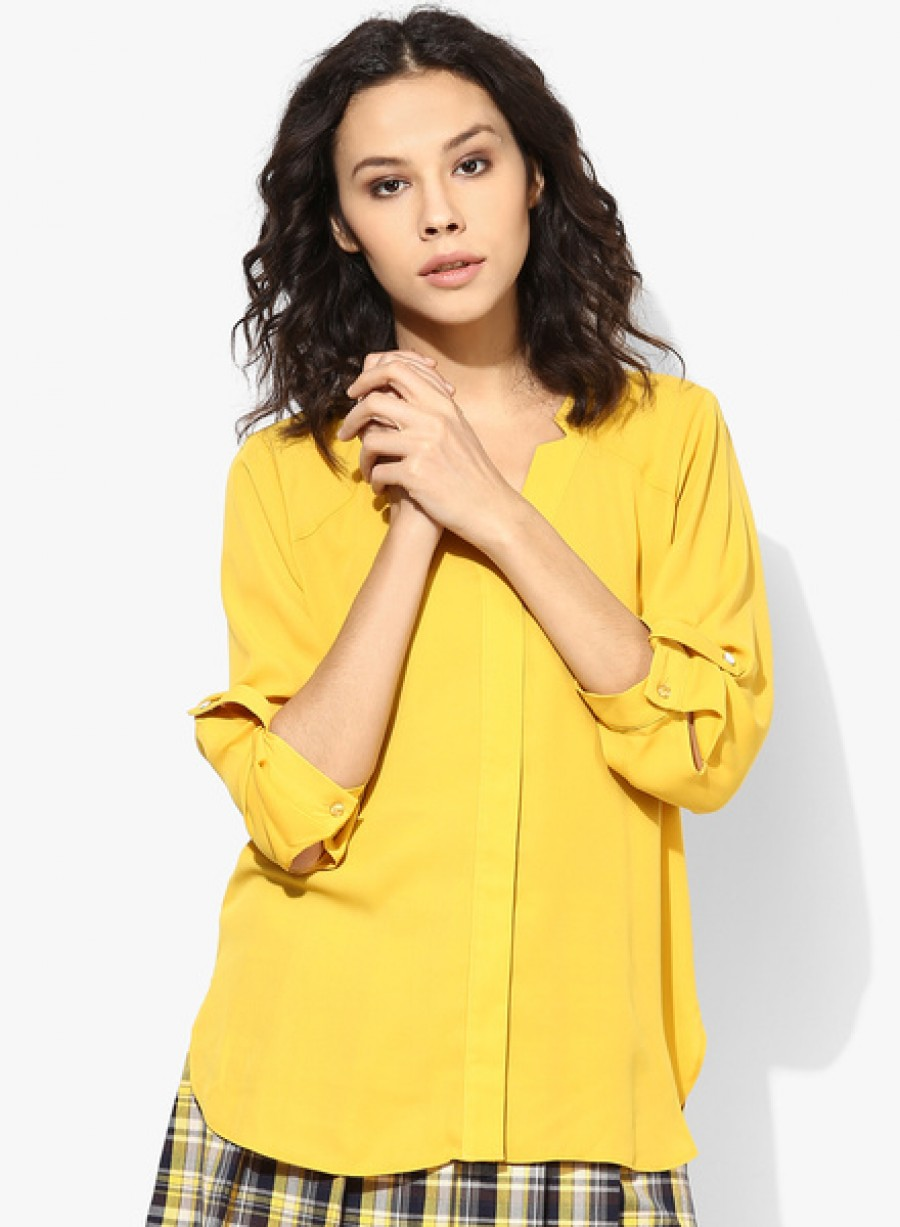 Buy Dorothy PerkinsOcre Notch Neck Shirt Online