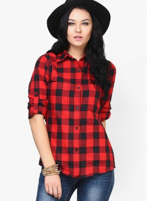 Buy FaballeyRed Checks Shirt Online