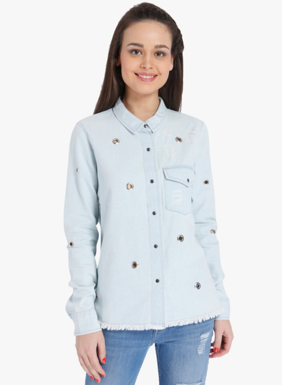 Buy OnlyLight Blue Washed Shirt Online