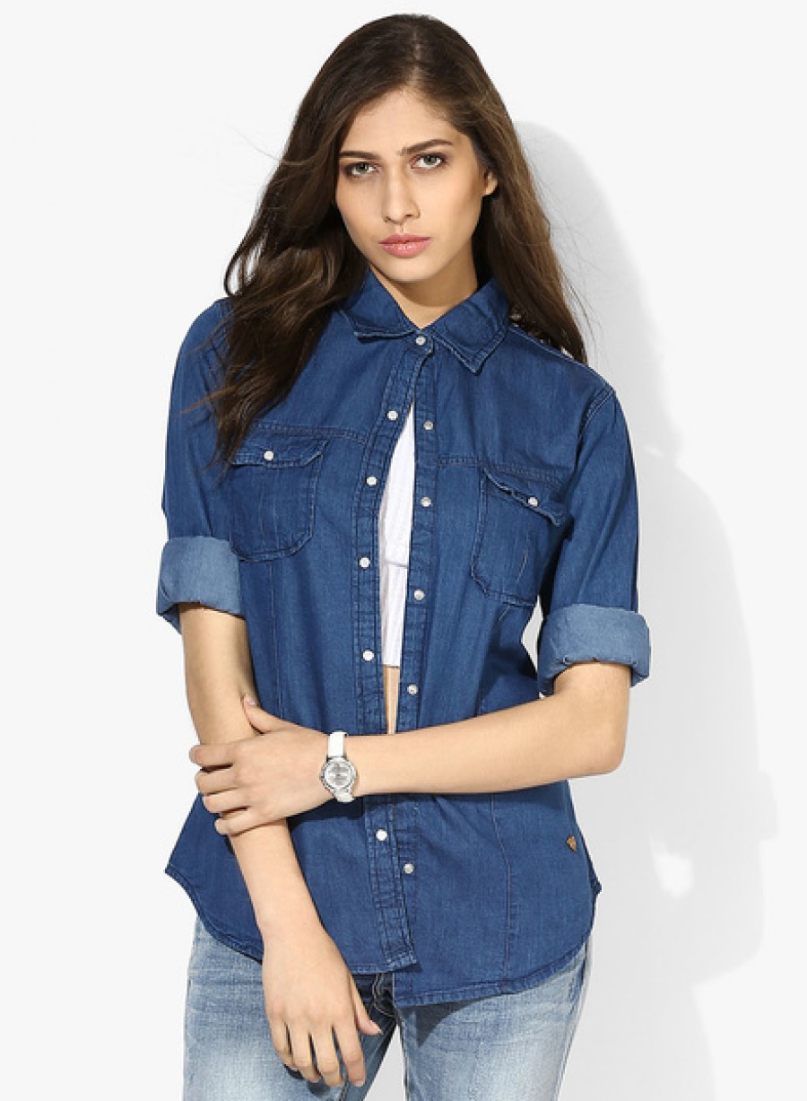 Buy Pepe JeansBlue Solid Shirt Online