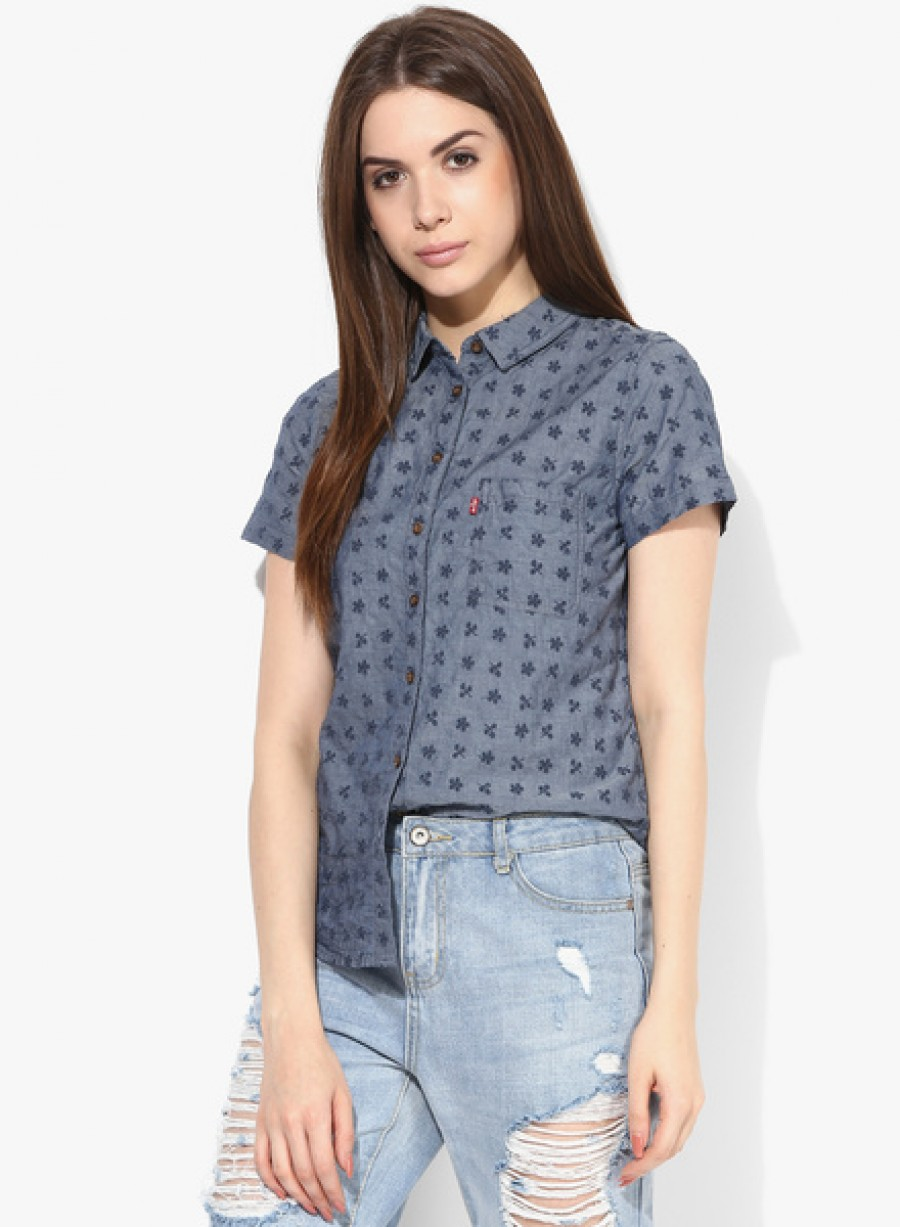 Buy LevisBlue Embroidered Shirt Online