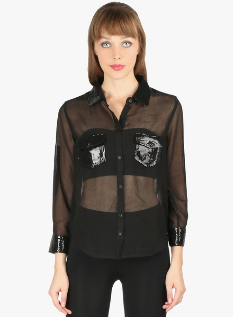 Buy Aaliya WomanBlack Embellished Shirt Online