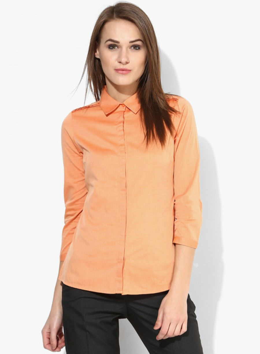Buy Arrow WomanOrange Solid Shirt Online