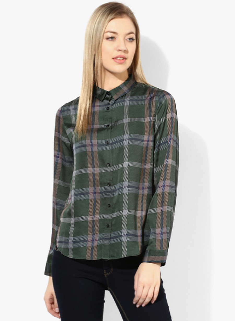 Buy United Colors of BenettonGreen Checked Shirt Online