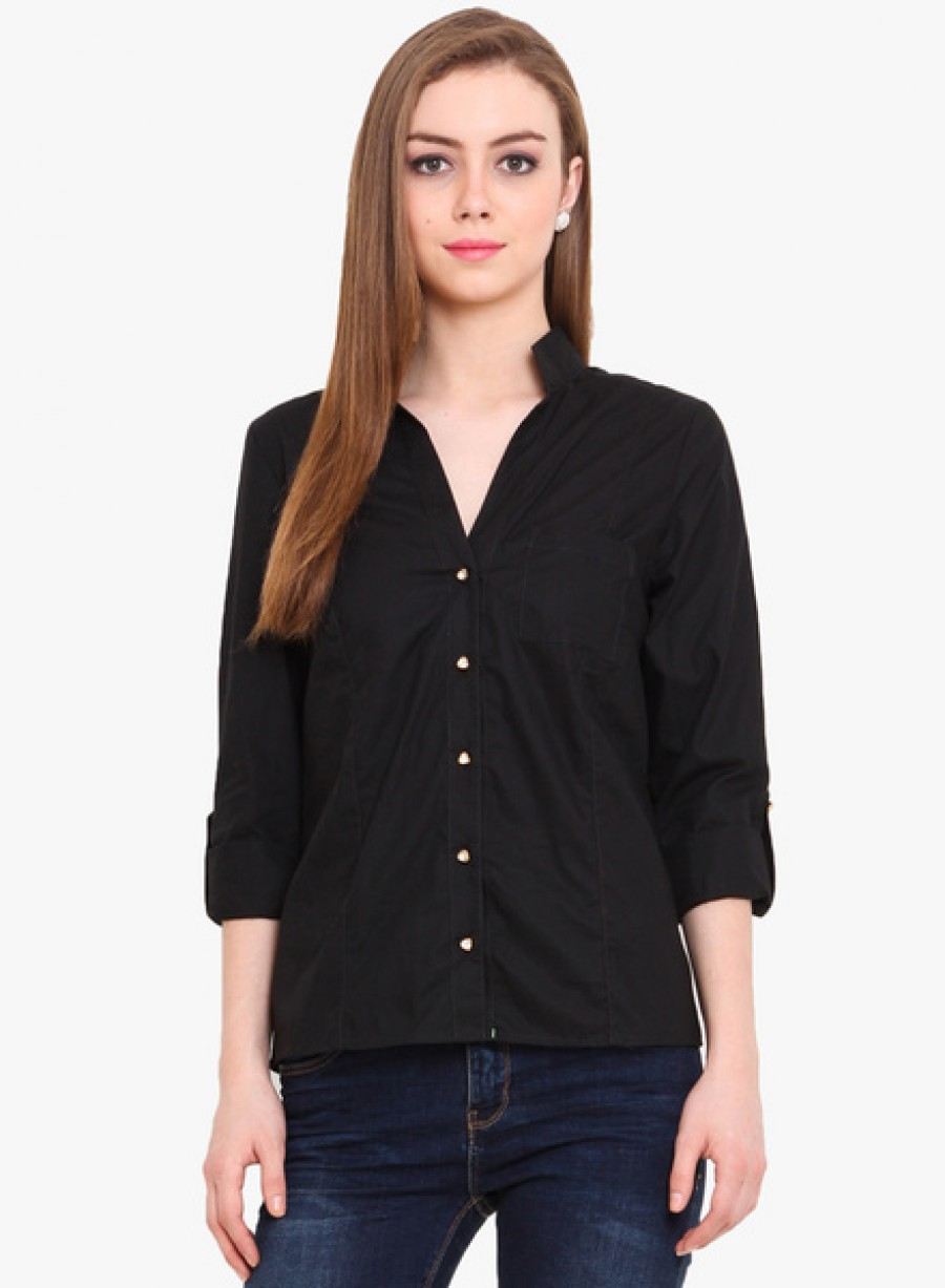 Buy Pryma DonnaBlack Colored Solid Shirt Online