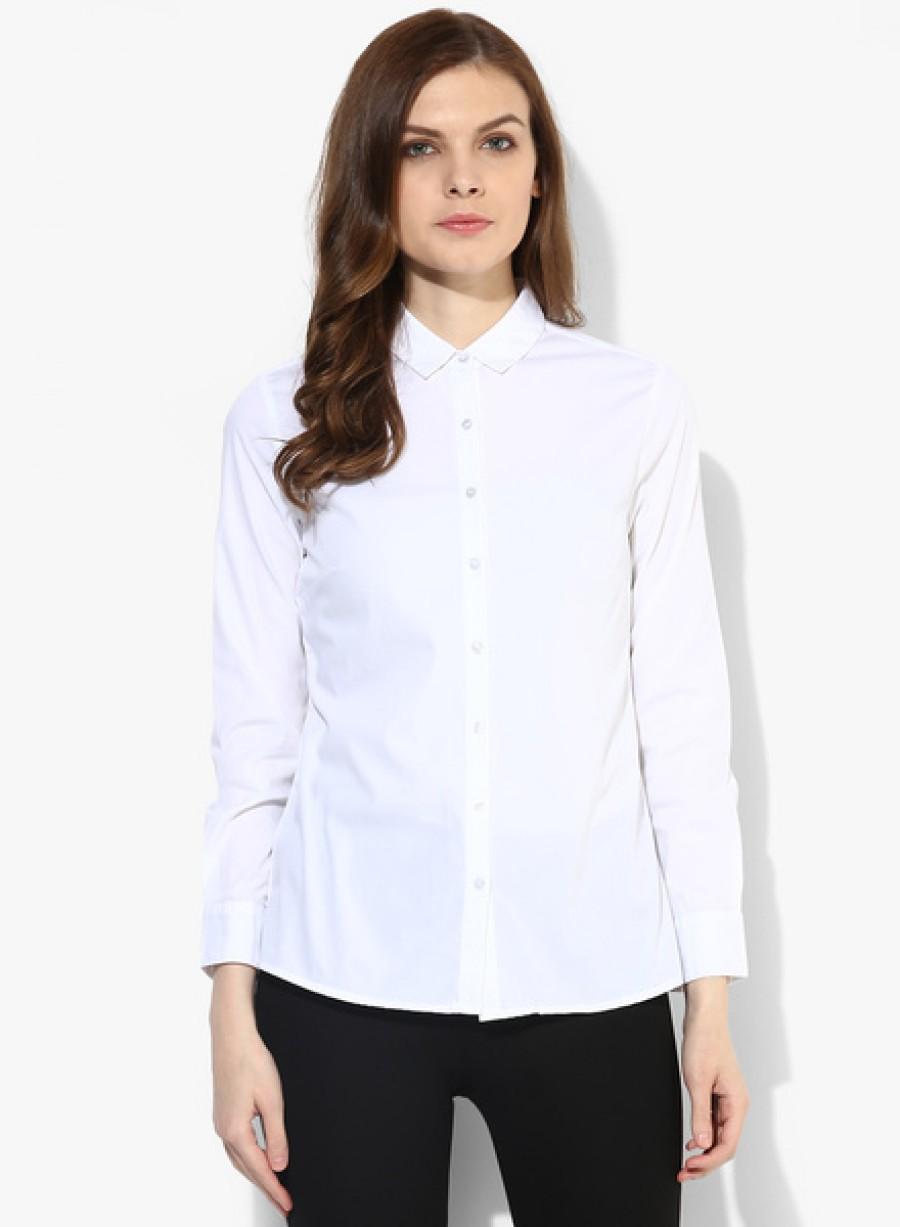 Buy Arrow WomanWhite Solid Shirt Online