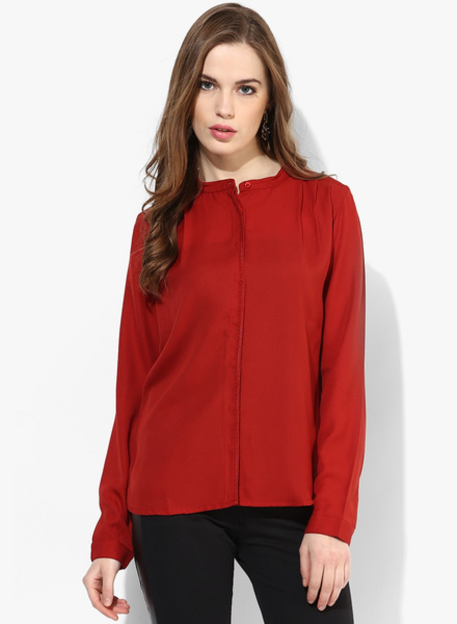 Buy Arrow WomanMaroon Solid Shirt Online