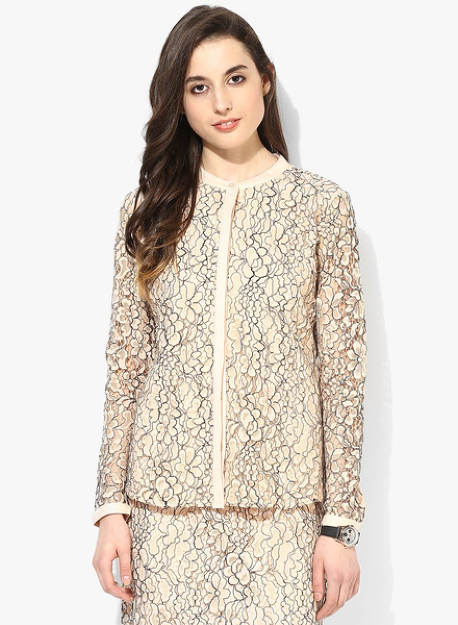 Buy Arrow WomanBeige Embroidered Shirt Online