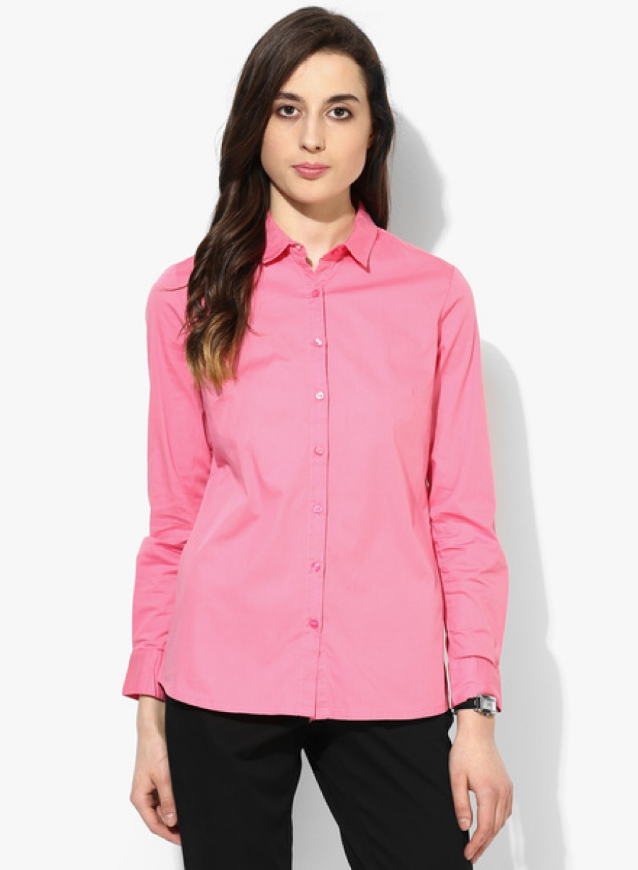 Buy Arrow WomanPink Solid Shirt Online