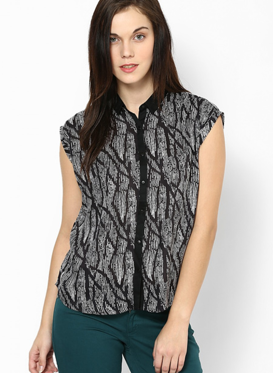 Buy Arrow WomanBlack Sleeve Less Shirt Online