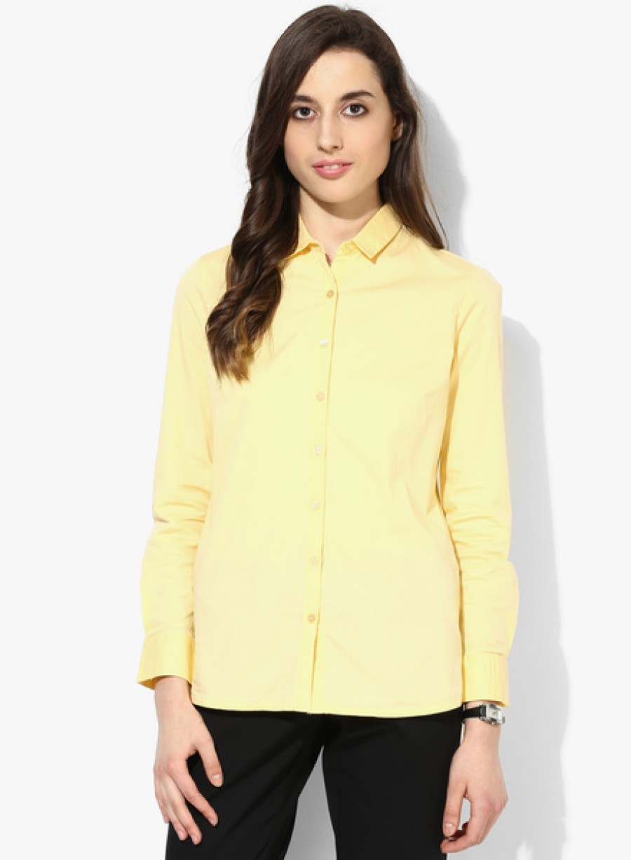 Buy Arrow WomanYellow Solid Shirt Online