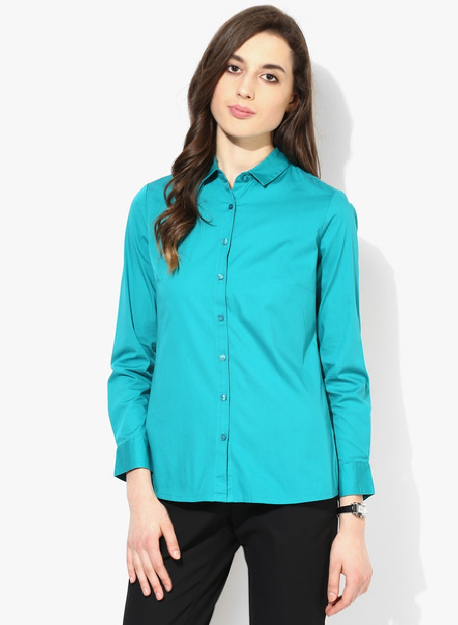 Buy Arrow WomanAqua Blue Solid Shirt Online