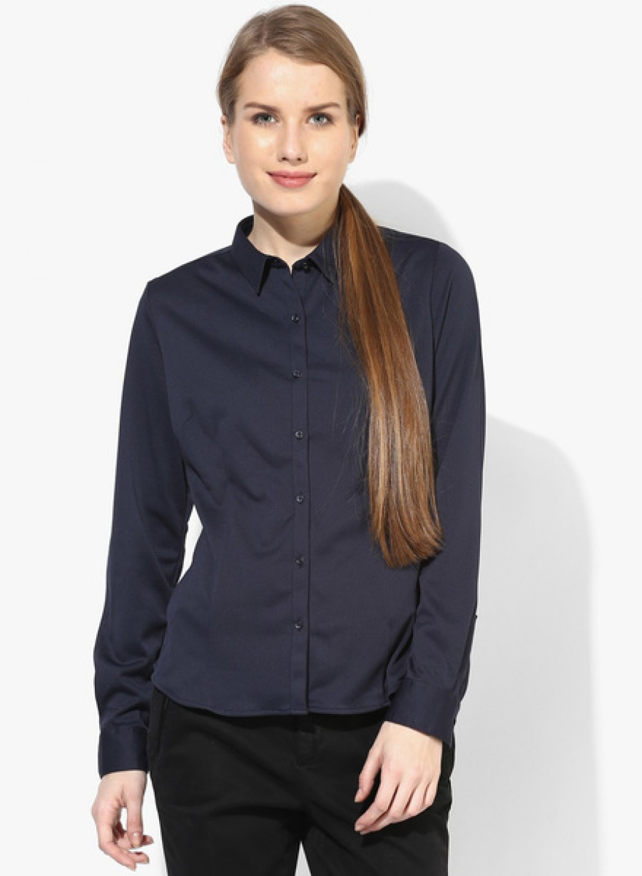 Buy Arrow WomanNavy Blue Solid Shirt Online