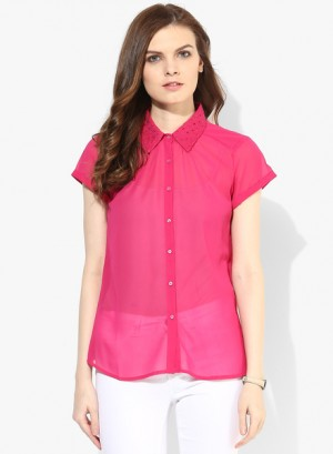 Buy Arrow WomanFuchsia Solid Shirt Online