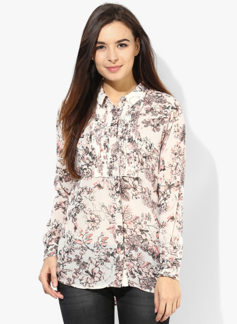Buy Arrow WomanOff White Printed Shirt Online