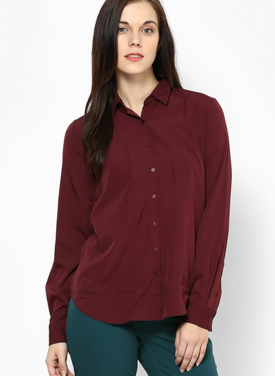 Buy Arrow WomanBurgundy Full Sleeve Shirt Online