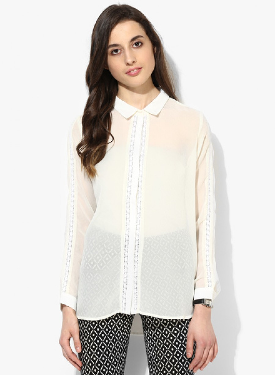 Buy Arrow WomanOff White Solid Shirt Online