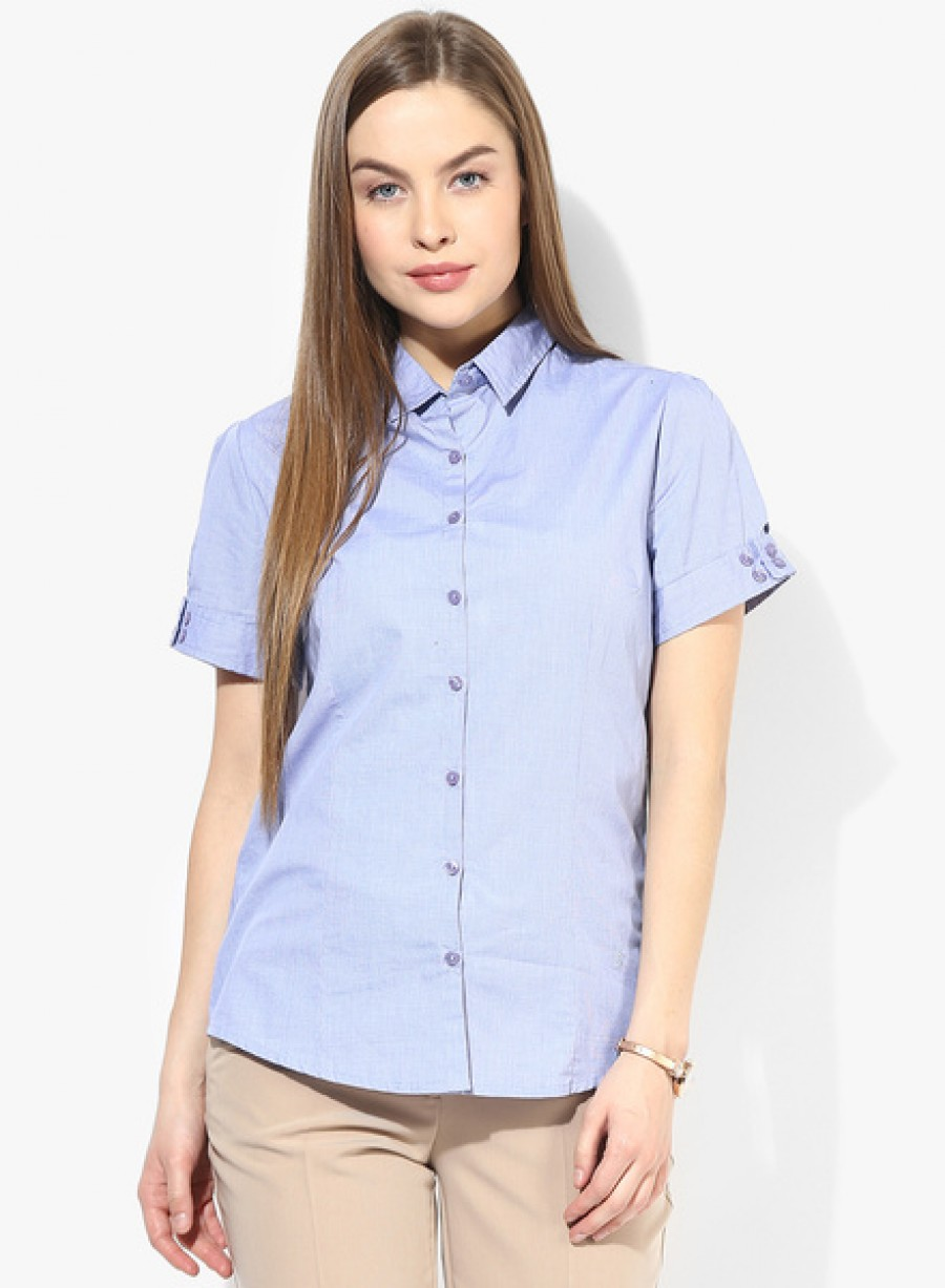 Buy Arrow WomanBlue Solid Shirt Online